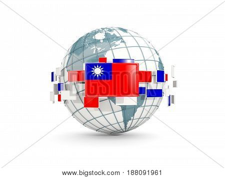 Globe With Flag Of Taiwan Isolated On White