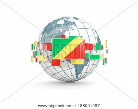 Globe With Flag Of Republic Of The Congo Isolated On White