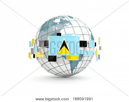 Globe With Flag Of Saint Lucia Isolated On White