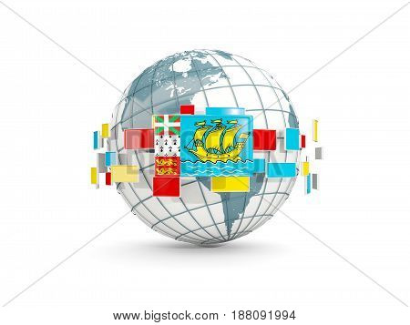 Globe With Flag Of Saint Pierre And Miquelon Isolated On White