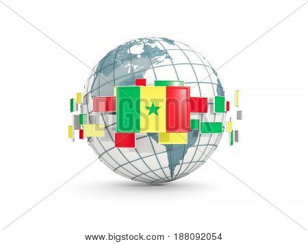 Globe With Flag Of Senegal Isolated On White