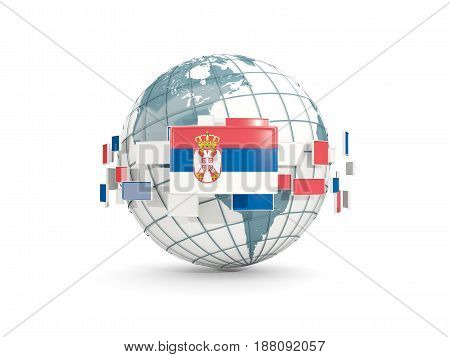Globe With Flag Of Serbia Isolated On White