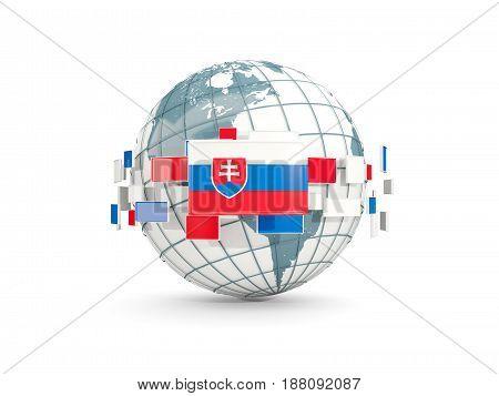 Globe With Flag Of Slovakia Isolated On White
