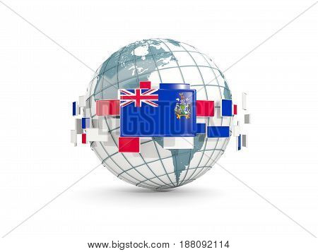 Globe With Flag Of South Georgia And The South Sandwich Islands Isolated On White