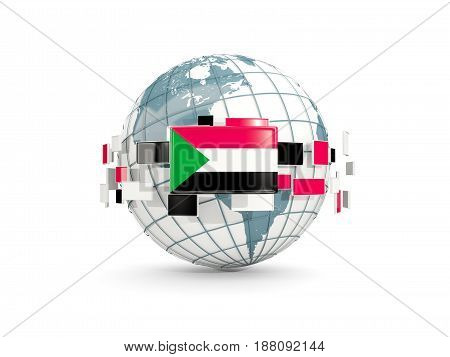 Globe With Flag Of Sudan Isolated On White