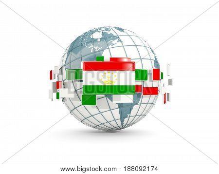 Globe With Flag Of Tajikistan Isolated On White