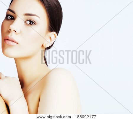 young pretty asian woman with hands on face isolated on white background, stylish fashion healthcare people concept close up