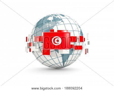 Globe With Flag Of Tunisia Isolated On White
