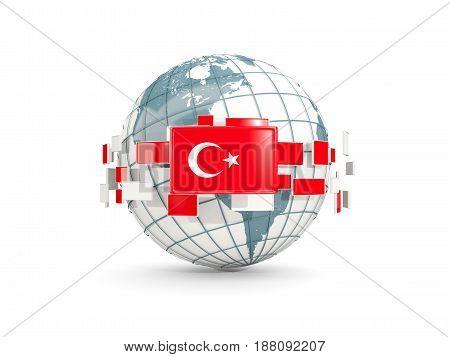 Globe With Flag Of Turkey Isolated On White