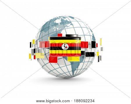 Globe With Flag Of Uganda Isolated On White