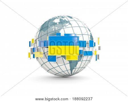 Globe With Flag Of Ukraine Isolated On White