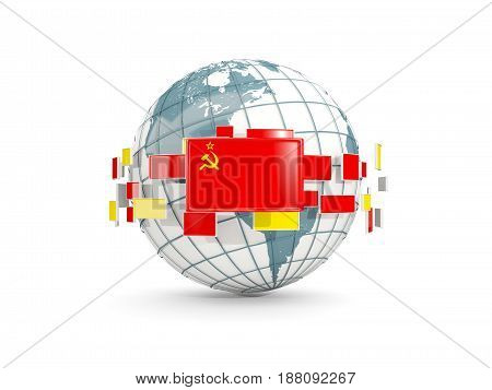 Globe With Flag Of Ussr Isolated On White