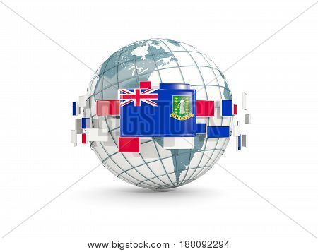 Globe With Flag Of Virgin Islands British Isolated On White