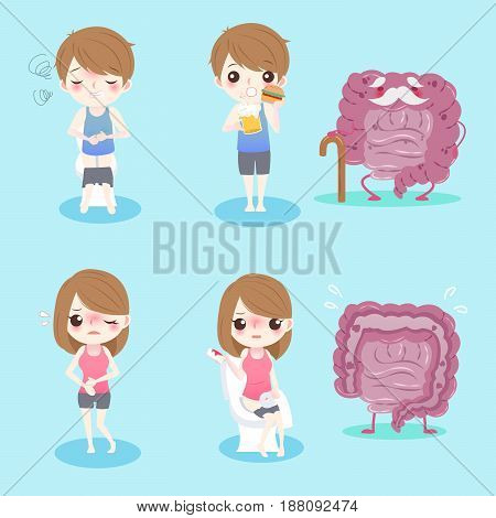 cute cartoon people with intestine health concept