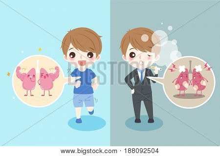 cute cartoon man with lung health concept