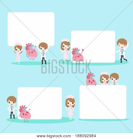 cute cartoon doctors take billboard with heart on blue background