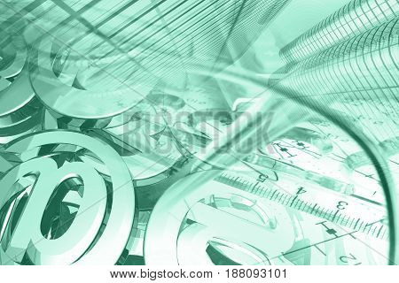 Business background in greens with glasses graph mail signs and buildings.