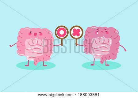 cute cartoon intestine take circle and cross signs on green background