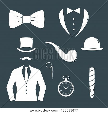 Vintage style design hipster gentleman symbol vector illustration antique graphic design retro element. Premium quality man shop classic fashion moustache club barber sign white silhouette.