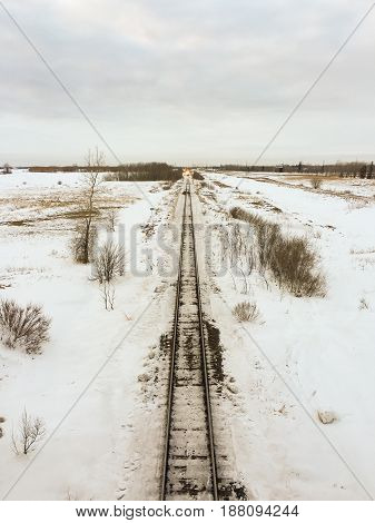 Overhead Head On View of Tracks in Winter