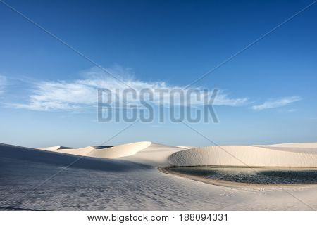 Lagoons in the desert of Lencois Maranhenses National Park Brazil