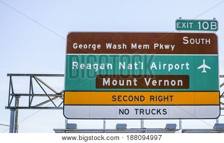 Street sign to Reagan National Airport in Washington DC - WASHINGTON - DISTRICT OF COLUMBIA