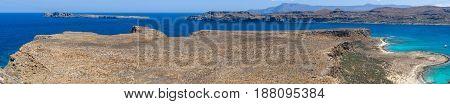Panoramic view on the bay of island Imeri Gramvousa and Mediterranean Sea. Crete. Greece.