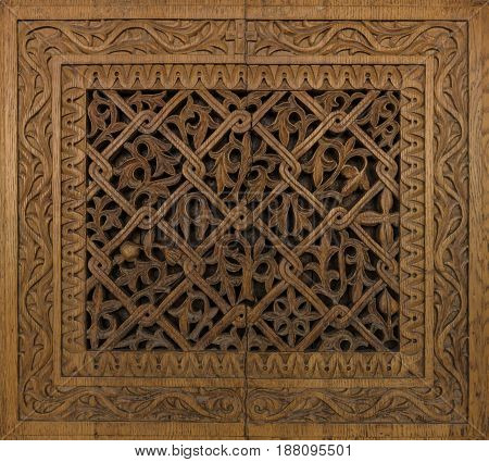 Beautiful wood carvings on a door of an old house in Heraklion. Crete. Greece.