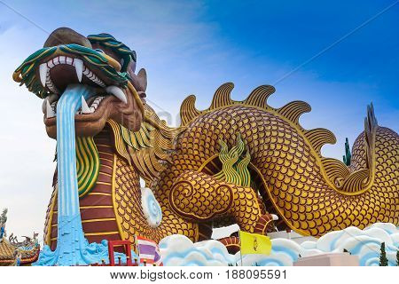 The gigantic chinese dragon in China town on blue sky background Thailand