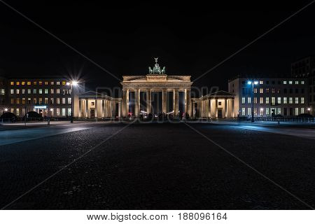 The Brandenburg Gate is an 18th-century neoclassical triumphal arch in Berlin Germany. Night illumination.