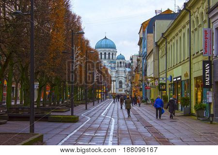 Kaunas, Lithuania - January 02, 2017: Catholic Saint archangel Michael church at Kaunas, Lithuania