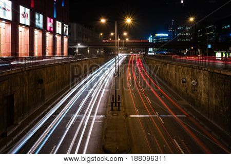 BERLIN - MARCH 05 2016: Night traffic on the tunnel near the Alexanderplatz. Berlin at night