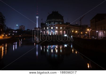 BERLIN - MARCH 05 2016: The Bode Museum at night. State Art Museum. Located on the Museum Island.