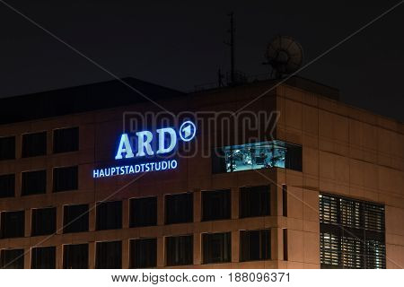 BERLIN - MARCH 05 2016: Headquarters - ARD (Consortium of public-law broadcasting institutions of the Federal Republic of Germany) in the night illumination.