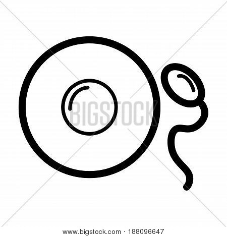 Sperm and egg vector icon. Black and white fertilization llustration. Outline linear simple icon. eps 10