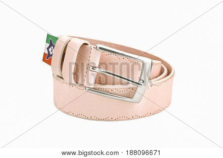Rolled men's brown leather belt with metal buckle and italian flag isolated on white background