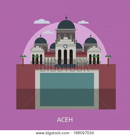 Aceh City of Indonesia Conceptual Design | Set of great flat design illustration concepts for city, indonesian, travel and much more.