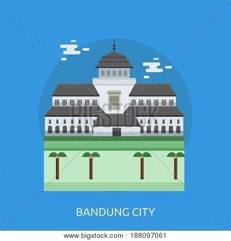 Bandung City of Indonesia Conceptual Design | Set of great flat design illustration concepts for city, indonesian, travel and much more.