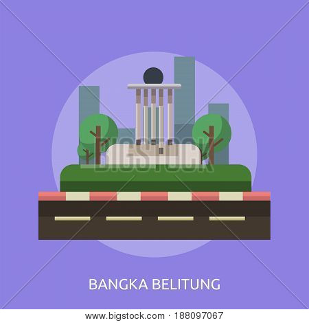 Bangka Belitung City of Indonesia Conceptual Design | Set of great flat design illustration concepts for city, indonesian, travel and much more.