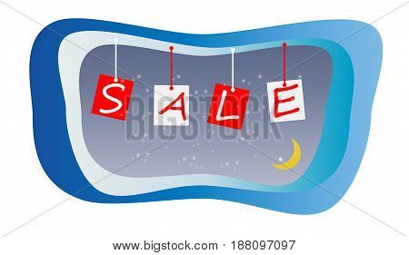 Abstract Sale Concept With Moon In Blue Sky