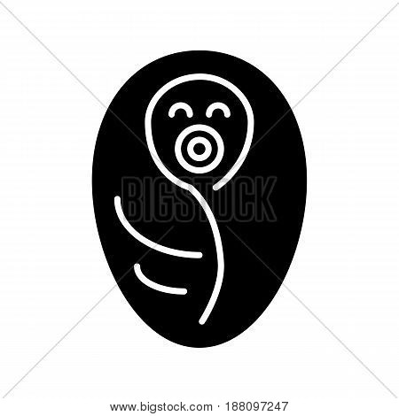 Newborn wrapped in baby blanket vector icon. Black and white baby illustration. Solid linear icon. eps 10