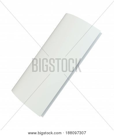 Blank white unfolded A4 paper crumpled. 3d rendering isolated on white background.