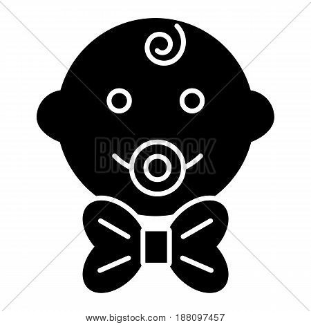 Baby boy vector icon. Black and white little gentleman illustration. Solid linear smiling baby face icon. eps 10