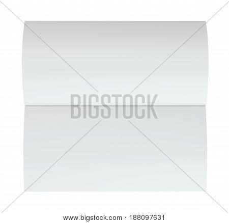 Blank folded leaflet white paper. 3d rendering. white background