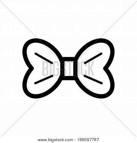 The bow vector icon. Black and white bow illustration. Outline linear beauty icon. eps 10