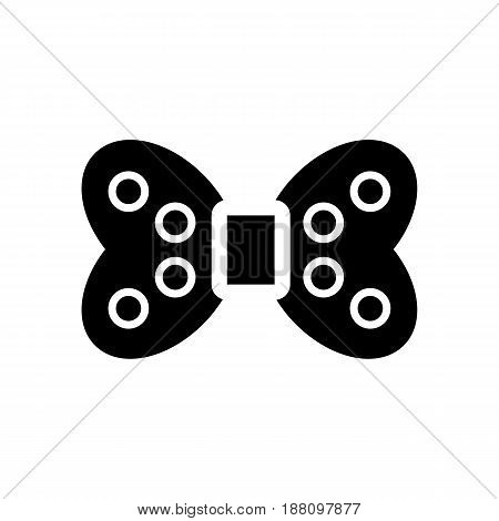 The bow dotted vector icon. Black and white bow illustration. Solid linear beauty icon. eps 10