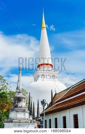 The beautiful ancient great pagoda of Thailand. Wat Phra Mahathat Woramahawihan.