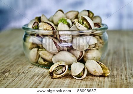Pistachios On Small Glass