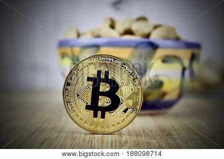 Black Bitcoin Coin Food Concept