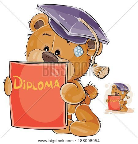 Vector illustration of a cheerful brown teddy bear in the graduation cap holding in his paws a university diploma. Print, template, design element